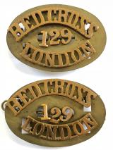 British Red Cross Society London 129 shoulder title pair of badges