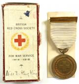 British Red Cross Society 1914 1918 War Service medal and case.