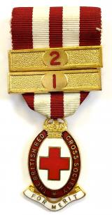 British Red Cross Society medal of merit badge and bars