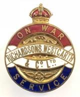 WW1 Richardsons Westgarth & Co Ltd on war service badge