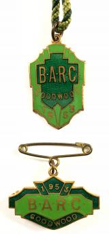 British Automobile Racing Club BARC Goodwood 1953 pair of badges