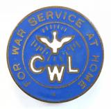 Catholic Womens League CWL for war service at home badge