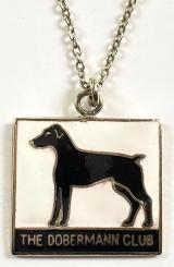 THE DOBERMANN CLUB dog lover necklace chain and badge