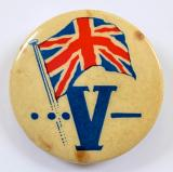 Winston Churchills V for Victory morse code tin button badge