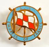 SS Empress of France Canadian Pacific Lines ships wheel badge