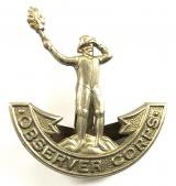 Observer Corps white metal cap badge