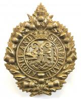 Argyll and Sutherland Highlanders feather bonnet post 1908 hat badge