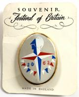 Festival of Britain 1951 handpainted ceramic badge on display card