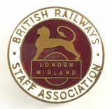 British Rail Midland Region staff association railway union badge