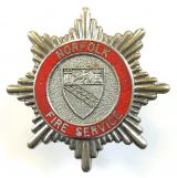 Norfolk Fire Service firemans cap badge