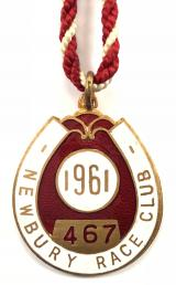 1961 Newbury horse racing club badge