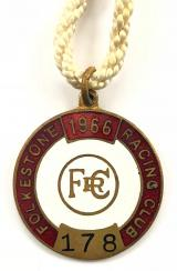 1966 Folkestone Racecourse horse racing club badge