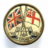 WW1 Duty to King and Country Royal Navy White Ensign fundraisers badge