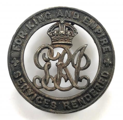 Replacement British Army WWI Services Rendered /'Silver War Badge/' or Wound Badge