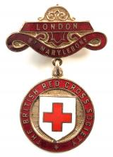 WW1 British Red Cross Society London St. Marylebone badge