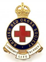 British Red Cross Honorary Life Member full size numbered badge