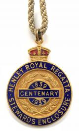 1939 Henley Royal Regatta stewards enclosure centenary badge