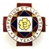 Primrose League 21 years associates badge
