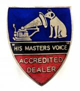 His Masters Voice HMV Accredited Dealer salesman's badge