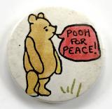 Winnie the Pooh for peace CND campaign tin button badge