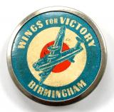 WW2 Wings For Victory Birmingham fundraising tin button badge