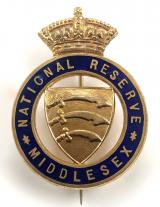 WW1 National Reserve Middlesex badge large pattern 45mm