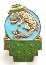 Butlins 1951 Clacton holiday camp leaping fish badge