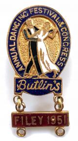 Butlins Annual Dancing Festival and Congress badge red dangler Filey 1951