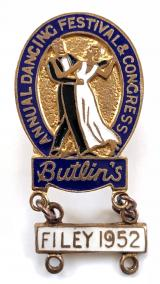 Butlins Annual Dancing Festival and Congress badge white dangler Filey 1952