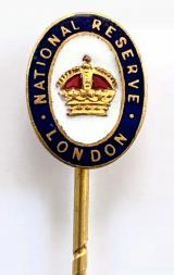WW1 National Reserve London MINIATURE cravat pin badge