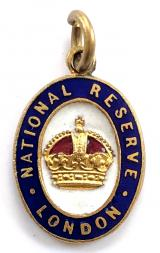 WW1 National Reserve London MINIATURE watch fob medallion badge