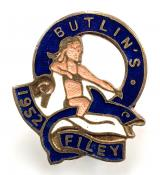 Butlins 1952 Filey holiday camp badge girl riding a fish dark blue labels