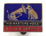 His Masters Voice Gramophone HMV sales & service promotional badge
