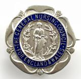 General Nursing Council State Registered Nurse 1923 silver SRN badge