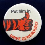 Esso Petroleum PUT HIM IN advertising campaign tiger tin button badge