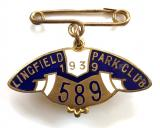 1939 Lingfield Park Club horse racing badge