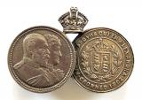 King Edward VII & Queen Alexandra 1902 miniature medal brooch