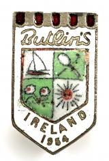 Butlins 1954 Mosney Ireland holiday camp white badge