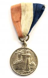 Peace Celebrations 1919 Britannia battleship monoplane medal