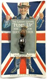 WW1 Fums Up Touchwood lucky silver charm and rare original display case