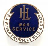 WW1 R & W Hawthorn Leslie locomotive & shipbuilders war service badge