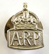 Air Raid Precautions 1938 silver miniature ARP badge by Bendall Brothers