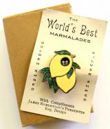 Robertsons pre war lemon fruit Golly head advertising badge card and case