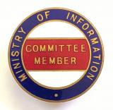 WW2 Ministry of Information Emergency Committee Member official badge