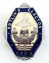 Butlins 1956 Clacton holiday camp sailing ship octagonal badge