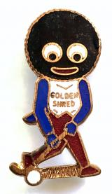 Robertsons Golly hockey player white waistcoat advertising badge by FATTORINI