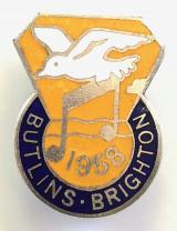 Butlins 1958 Brighton holiday camp bird and music note badge