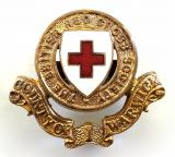 WW1 British Red Cross Society County of Warwick cap badge