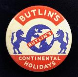 Butlins Continental Holidays cellulid tin button badge