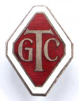 WW2 Girls Training Corps GTC officers red enamel cap badge
